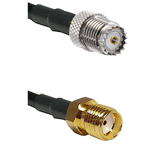 Mini-UHF Female on RG142 to SMA Reverse Thread Female Cable Assembly