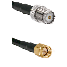 Mini-UHF Female on RG142 to SMA Male Cable Assembly