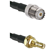 Mini-UHF Female on RG142 to SMB Male Bulkhead Cable Assembly