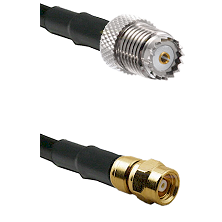 Mini-UHF Female on RG142 to SMC Female Cable Assembly