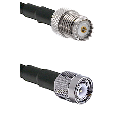 Mini-UHF Female on RG142 to TNC Male Cable Assembly