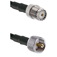 Mini-UHF Female on RG142 to UHF Male Cable Assembly