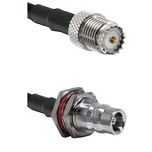 Mini-UHF Female on RG58 to QN Female Bulkhead Cable Assembly