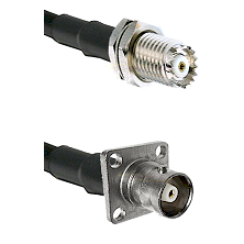 Mini-UHF Female Connector On LMR-240UF UltraFlex To C 4 Hole Female Connector Cable Assembly