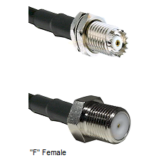Mini-UHF Female Connector On LMR-240UF UltraFlex To F Female Connector Cable Assembly