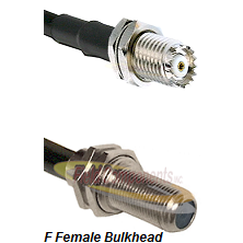 Mini-UHF Female Connector On LMR-240UF UltraFlex To F Female Bulkhead Connector Coaxial Cable Assemb