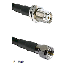 Mini-UHF Female Connector On LMR-240UF UltraFlex To F Male Connector Cable Assembly