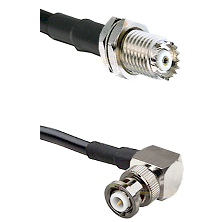 Mini-UHF Female Connector On LMR-240UF UltraFlex To MHV Right Angle Male Connector Coaxial Cable Ass