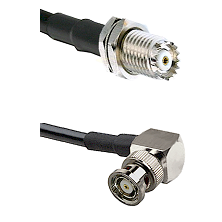 Mini-UHF Female Connector On LMR-240UF UltraFlex To BNC Reverse Polarity Right Angle Male Connector
