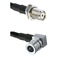 Mini-UHF Female Connector On LMR-240UF UltraFlex To QMA Right Angle Male Connector Coaxial Cable Ass