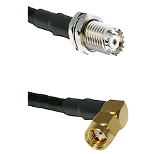 Mini-UHF Female Connector On LMR-240UF UltraFlex To SMA Reverse Polarity Right Angle Male Connector