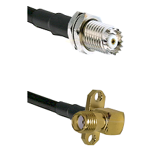 Mini-UHF Female Connector On LMR-240UF UltraFlex To SMA 2 Hole Right Angle Female Connector Coaxial