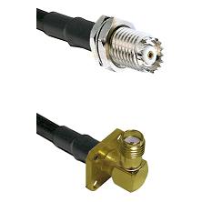Mini-UHF Female Connector On LMR-240UF UltraFlex To SMA 4 Hole Right Angle Female Connector Coaxial