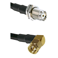 Mini-UHF Female Connector On LMR-240UF UltraFlex To SMA Right Angle Male Connector Coaxial Cable Ass