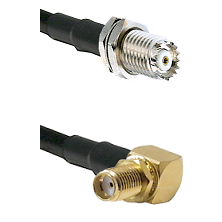 Mini-UHF Female Connector On LMR-240UF UltraFlex To SMA Reverse Thread Right Angle Female Bulkhead C