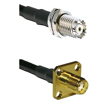 Mini-UHF Female Connector On LMR-240UF UltraFlex To SMA 4 Hole Female Connector Coaxial Cable Assemb