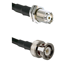 Mini-UHF Female Bulkhead on RG142 to BNC Male Cable Assembly