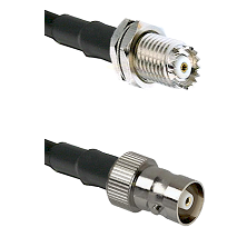 Mini-UHF Female Bulkhead on RG142 to C Female Cable Assembly