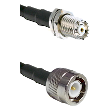 Mini-UHF Female Bulkhead on RG142 to C Male Cable Assembly