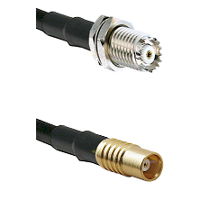 Mini-UHF Female Bulkhead on RG142 to MCX Female Cable Assembly