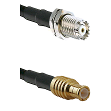 Mini-UHF Female Bulkhead on RG142 to MCX Male Cable Assembly