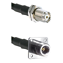 Mini-UHF Female Bulkhead on RG142 to N 4 Hole Female Cable Assembly