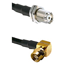 Mini-UHF Female Bulkhead on RG142 to SMC Right Angle Female Cable Assembly