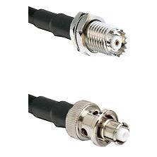 Mini-UHF Female Bulkhead on RG142 to SHV Plug Cable Assembly
