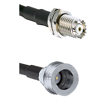 Mini-UHF Female Bulkhead on RG58C/U to QN Male Cable Assembly