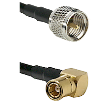 Mini-UHF Male on LMR100/U to SMB Right Angle Female Cable Assembly
