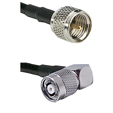 Mini-UHF Male on LMR-195-UF UltraFlex to TNC Reverse Polarity Right Angle Male Coaxial Cable Assembl
