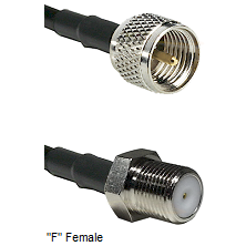 Mini-UHF Male Connector On LMR-240UF UltraFlex To F Female Connector Cable Assembly