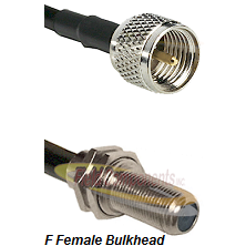 Mini-UHF Male Connector On LMR-240UF UltraFlex To F Female Bulkhead Connector Cable Assembly