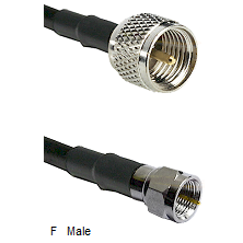 Mini-UHF Male Connector On LMR-240UF UltraFlex To F Male Connector Cable Assembly