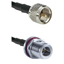 Mini-UHF Male on LMR240 Ultra Flex to N Reverse Polarity Female Bulkhead Cable Assembly