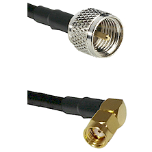 Mini-UHF Male on LMR240 Ultra Flex to SMA Reverse Polarity Right Angle Male Cable Assembly