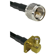 Mini-UHF Male on LMR240 Ultra Flex to SMA 4 Hole Right Angle Female Cable Assembly