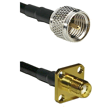 Mini-UHF Male Connector On LMR-240UF UltraFlex To SMA 4 Hole Female Connector Cable Assembly