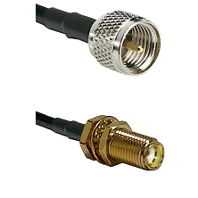 Mini-UHF Male on LMR240 Ultra Flex to SMA Female Bulkhead Cable Assembly