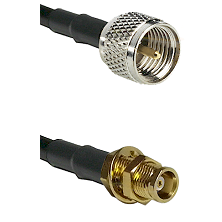 Mini-UHF Male on RG142 to MCX Female Bulkhead Cable Assembly
