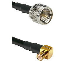 Mini-UHF Male on RG58C/U to MCX Right Angle Male Cable Assembly