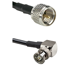 Mini-UHF Male on RG58C/U to BNC Reverse Polarity Right Angle Male Cable Assembly