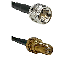 Mini-UHF Male on RG58C/U to SMA Reverse Polarity Female Bulkhead Cable Assembly