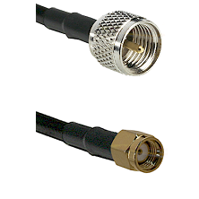 Mini-UHF Male on RG58C/U to SMA Reverse Polarity Male Cable Assembly
