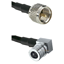 Mini-UHF Male on RG58C/U to QMA Right Angle Male Cable Assembly