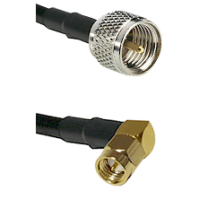 Mini-UHF Male on RG58C/U to SMA Right Angle Male Cable Assembly