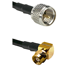 Mini-UHF Male on RG58C/U to SMC Right Angle Female Cable Assembly