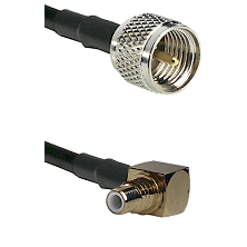 Mini-UHF Male on RG58C/U to SMC Right Angle Male Cable Assembly