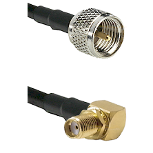 Mini-UHF Male on RG58C/U to SMA Reverse Thread Right Angle Female Bulkhead Cable Assembly