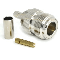 N Female for RG58 RG141 LMR195 Crimp 50ohm 12.4GHz Brass Nickel Connector
